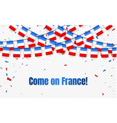 france garland flag with confetti on transparent vector image
