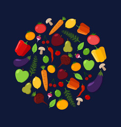 fruit and vegetable circle on a dark background vector image