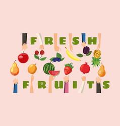 fruit horizontal banner hand choice cartoon style vector image