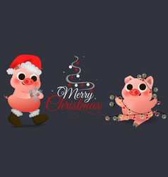 funny smiling piggy sitting with garland card vector image