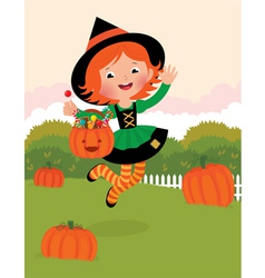 Girl in witch costume celebrates Halloween vector image vector image