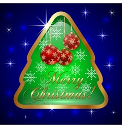 Glass Christmas Tree with Ball and Snowflakes vector image