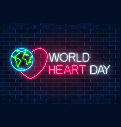 glowing neon medicine concept sign with heart vector image
