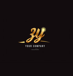 Gold alphabet letter zy z y logo combination icon vector