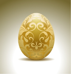 Golden egg with floral decoration vector