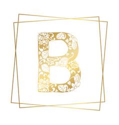 golden ornamental alphabet letter b font on white vector image