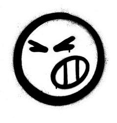 Graffiti aggressive icon sprayed in black vector