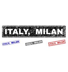 grunge italy milan textured rectangle watermarks vector image