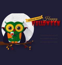 halloween card with vampire owl vector image