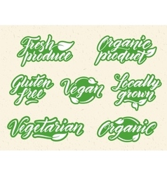 Hand drawn healthy food letterings Retro styled vector