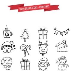 Hand drawn object Christmas set vector