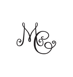 Handwritten monogram mc icon vector