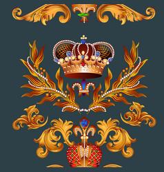 Heraldic seamless wallpaper pattern with fleur de vector