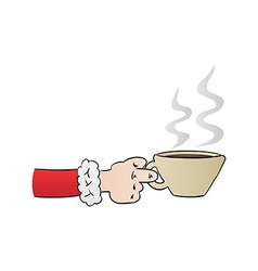 Hot coffee and hand vector