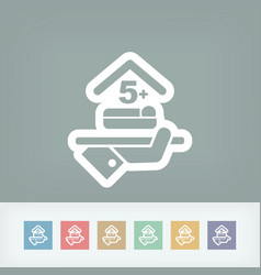 Hotel icon over five places room vector