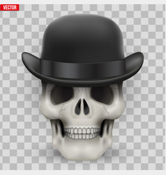 human skull with hat bowler vector image