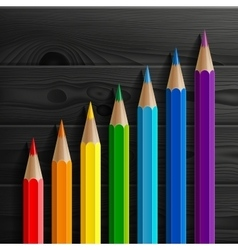 Infographic rainbow colored pencils diagonal vector image