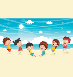 Kids playing at beach vector
