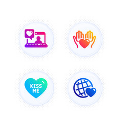 kiss me hold heart and friends chat icons set vector image