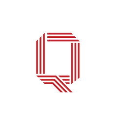 letter q with geometric three strips logo vector image