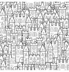 magic kingdom black and white seamless pattern vector image
