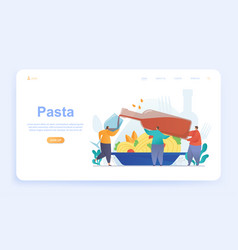 male and female characters are eating pasta vector image