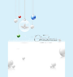 merry christmas on bright blue background design vector image