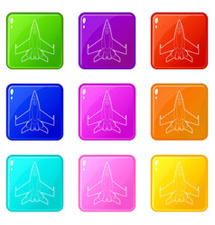 Military jet icons set 9 color collection vector
