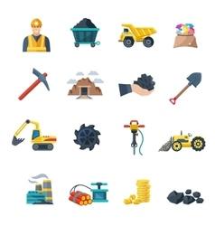 Mining Icons Flat vector image