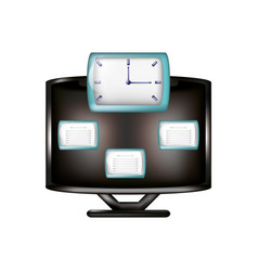 monitor with cloud computing and clock vector image