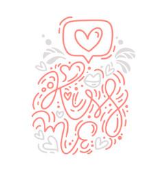 monoline calligraphy phrase kiss me with vector image