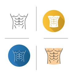 Muscular male torso icon vector