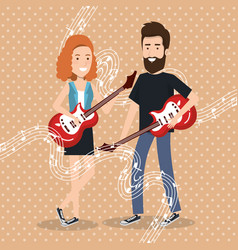 music festival live with couple playing electrics vector image