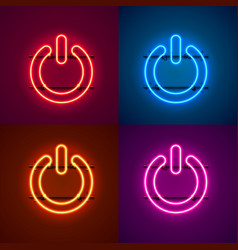 Neon off sign color set vector