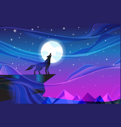 night landscape with howling wolf at moon vector image