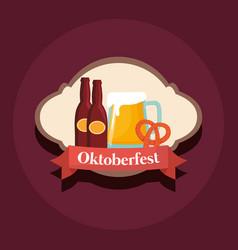oktoberfest label with beer bottles vector image