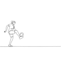 one continuous line drawing young sporty woman vector image