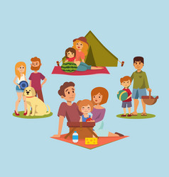 Picnic setting with fresh food hamper basket vector