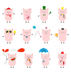 Pig set cute funny cartoon character all seasons vector