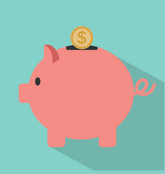 piggy bank and coin with long shadow vector image