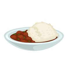 Rice and stewed meat with gravy in bowl isolated vector