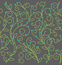 Seamless floral heart fabric green tone vector