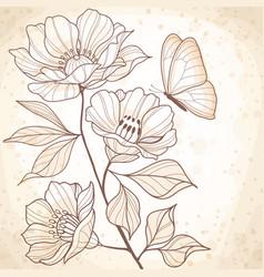 sepia watercolor vintage floral vector image