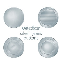Set classic jeans silver sewing buttons vector