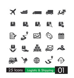 Set of 25 logistic shipping transport icons vector image