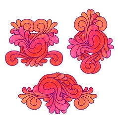 Set of decorative watercolor elements vector