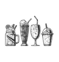 set of different milkshake vector image