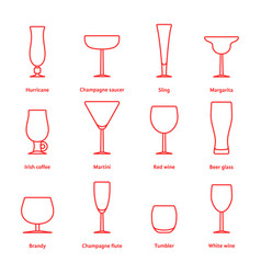 Set of red thin line stemware vector