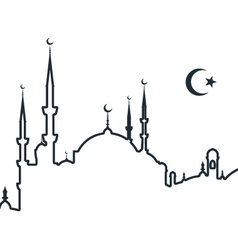 Silhouette of arabic city with mosque - symbols of vector
