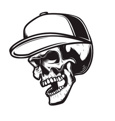 skull in baseball cap in engraving style design vector image